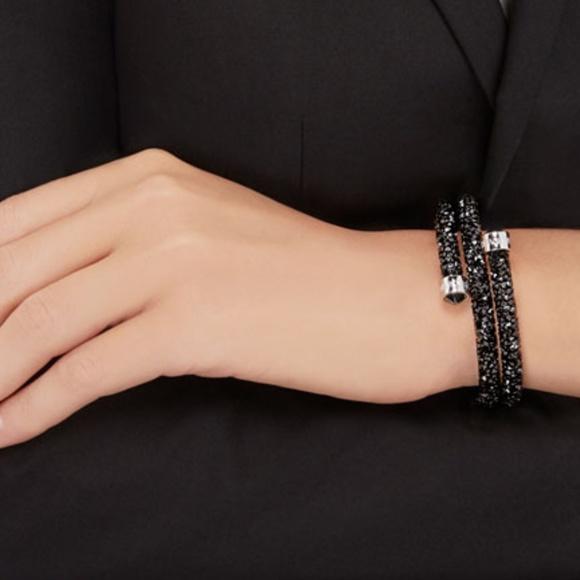 7e907858e673c CRYSTALDUST DOUBLE BANGLE, Black Crystal Bracelet NWT
